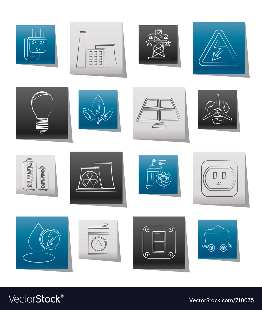 Energy and electricity icons vector   Price: 1 Credit (USD $1)