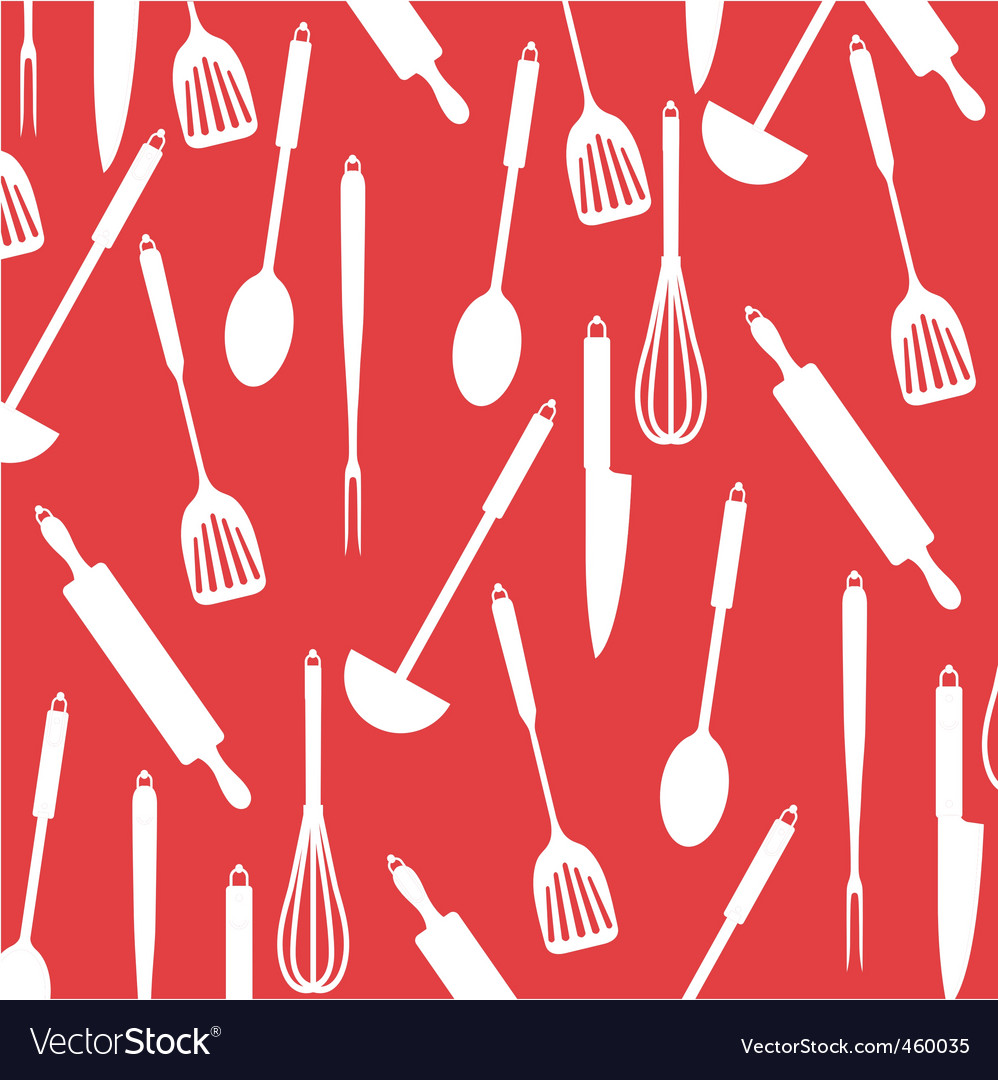 Kitchen utensils on red card vector | Price: 1 Credit (USD $1)