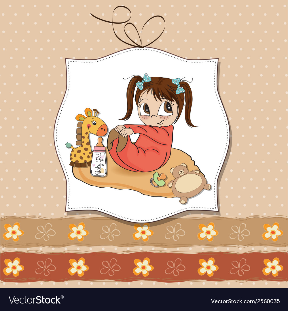 Little baby girl play with her toys vector | Price: 1 Credit (USD $1)