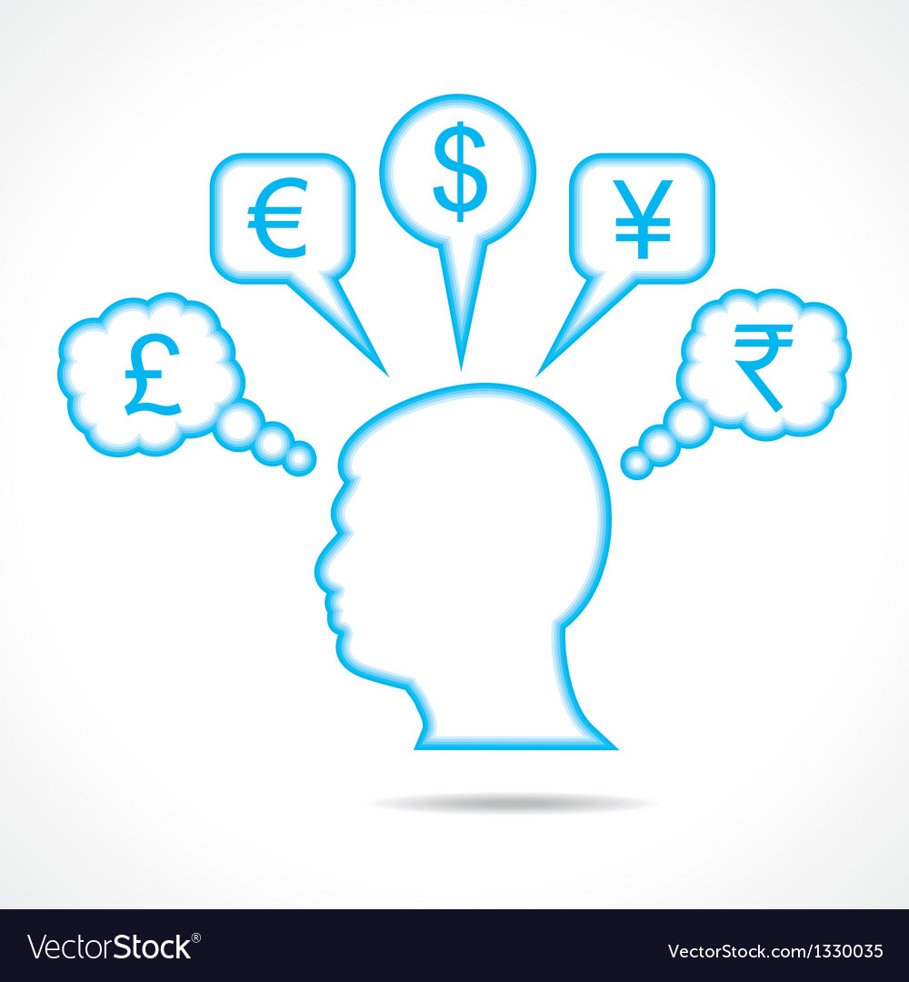 Man thinking about currency vector | Price: 1 Credit (USD $1)