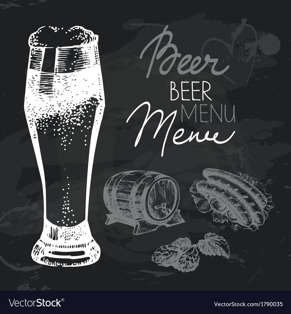 Oktoberfest beer hand drawn chalkboard design set vector | Price: 1 Credit (USD $1)