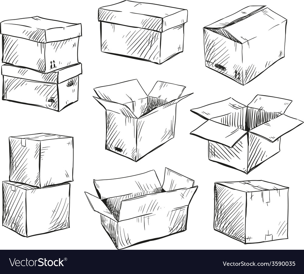 Set of doodle cardboard boxes vector | Price: 1 Credit (USD $1)