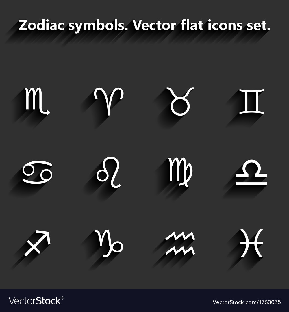 Signs of the zodiac flat icons vector | Price: 1 Credit (USD $1)