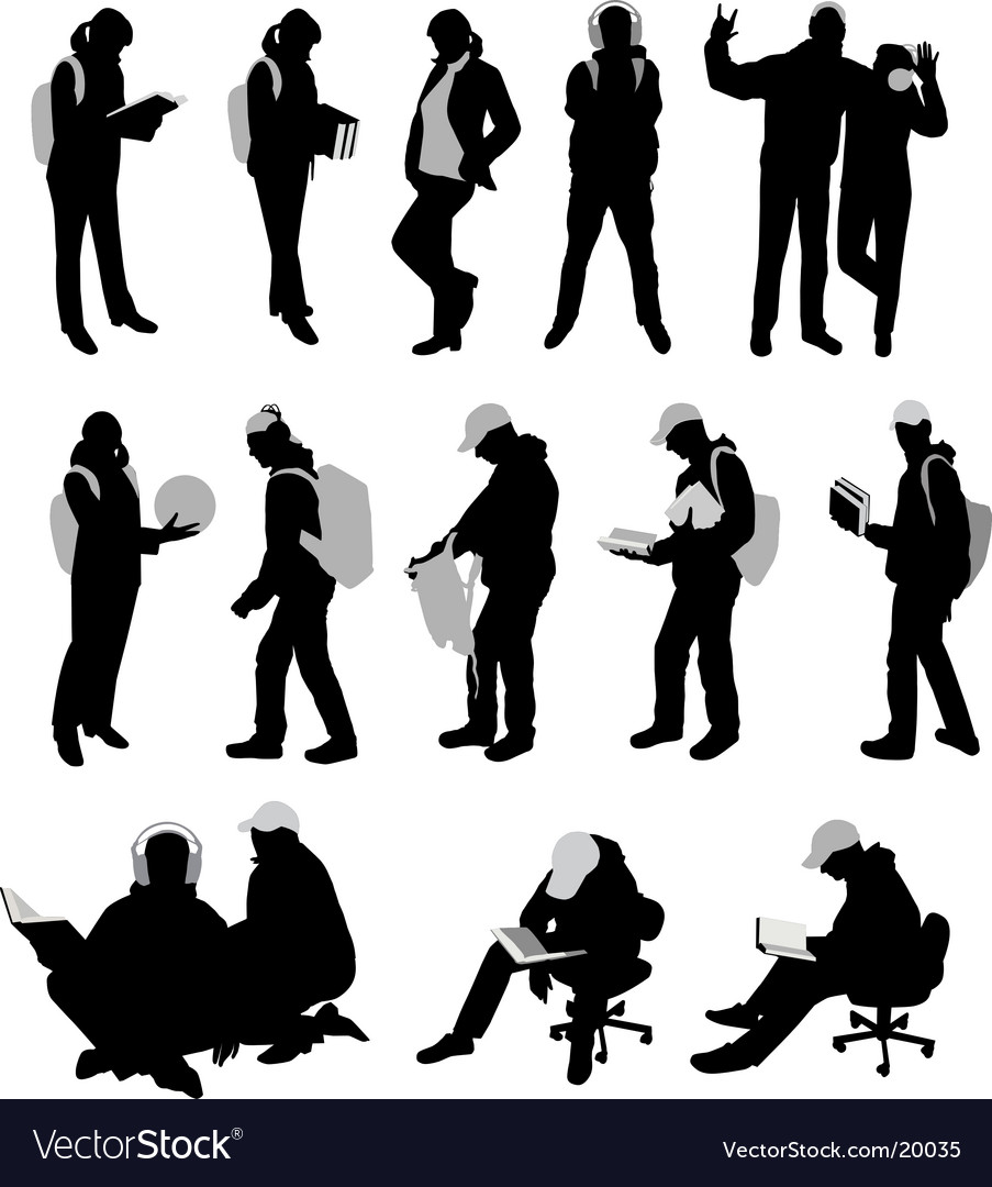 Silhouettes of students vector | Price: 1 Credit (USD $1)
