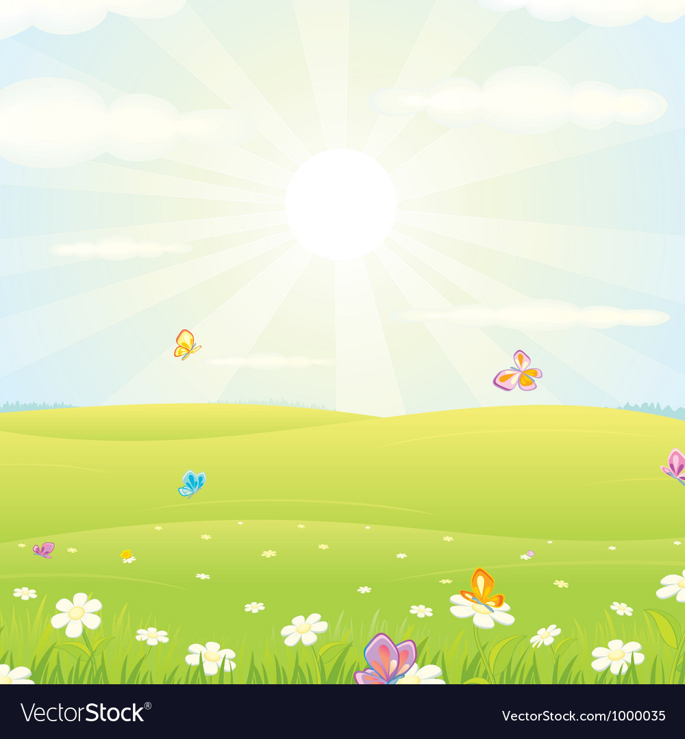 Summer meadow background vector | Price: 1 Credit (USD $1)