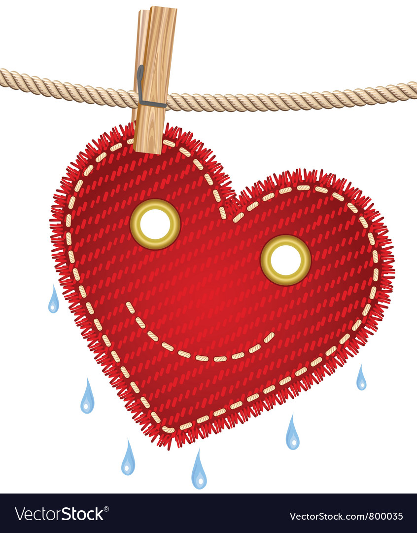 Textile red heart on a clothesline vector | Price: 1 Credit (USD $1)
