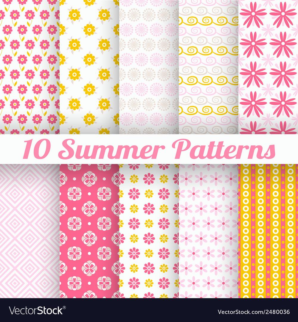10 light summer seamless patterns tiling fond pink vector | Price: 1 Credit (USD $1)