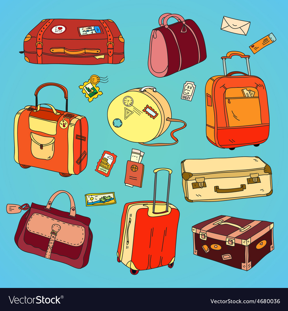 Collection of vintage travel suitcases with vector | Price: 1 Credit (USD $1)