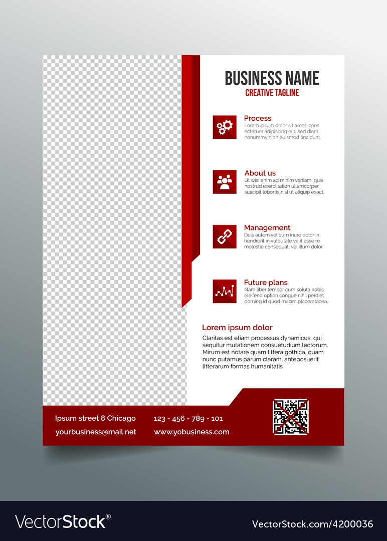 Corporate business flyer template - red design vector | Price: 1 Credit (USD $1)