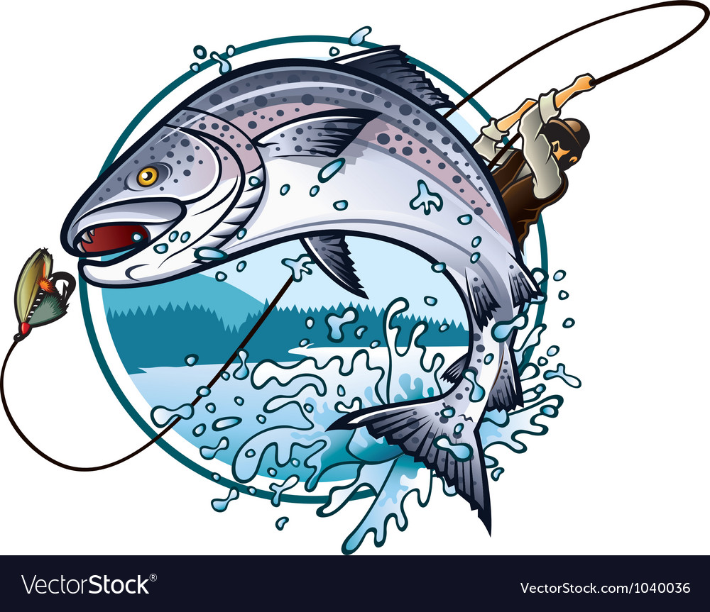 Fishing salmon vector | Price: 3 Credit (USD $3)
