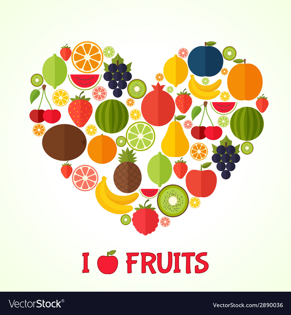 Fruits heart in flat style colorful template for vector | Price: 1 Credit (USD $1)