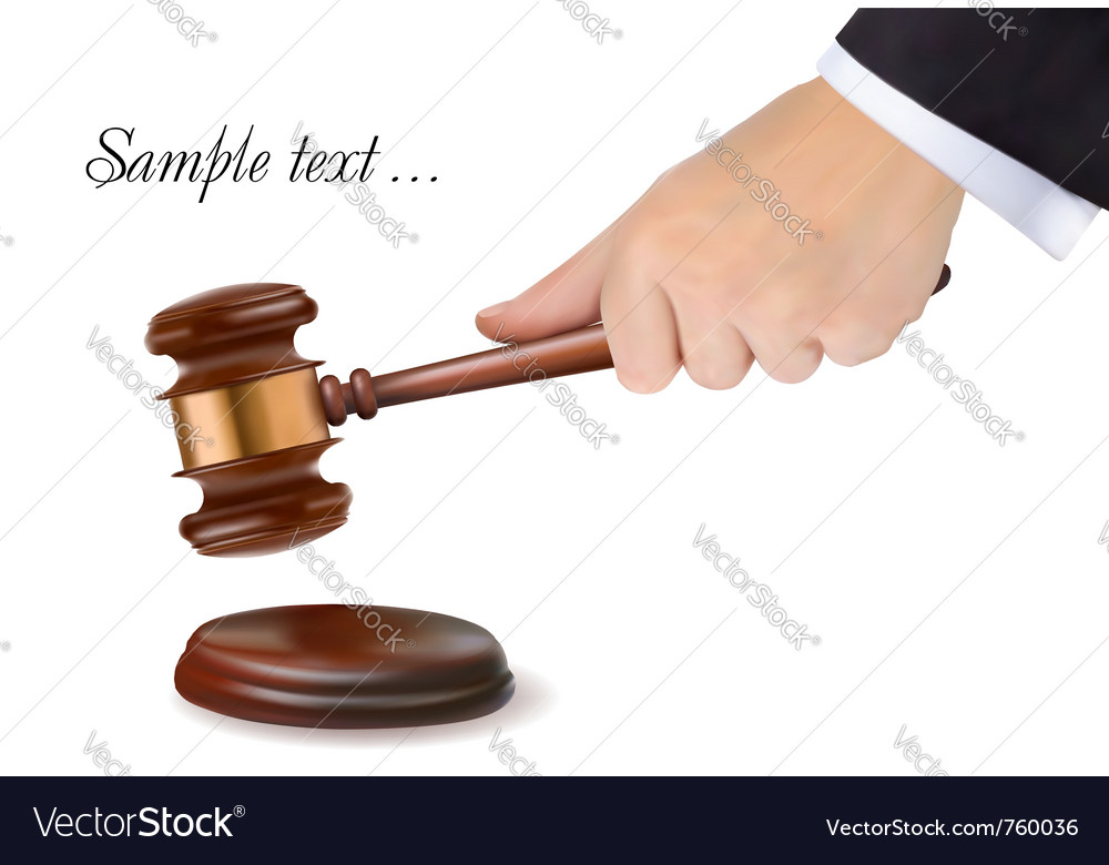 Hand holding judge gavel vector | Price: 3 Credit (USD $3)