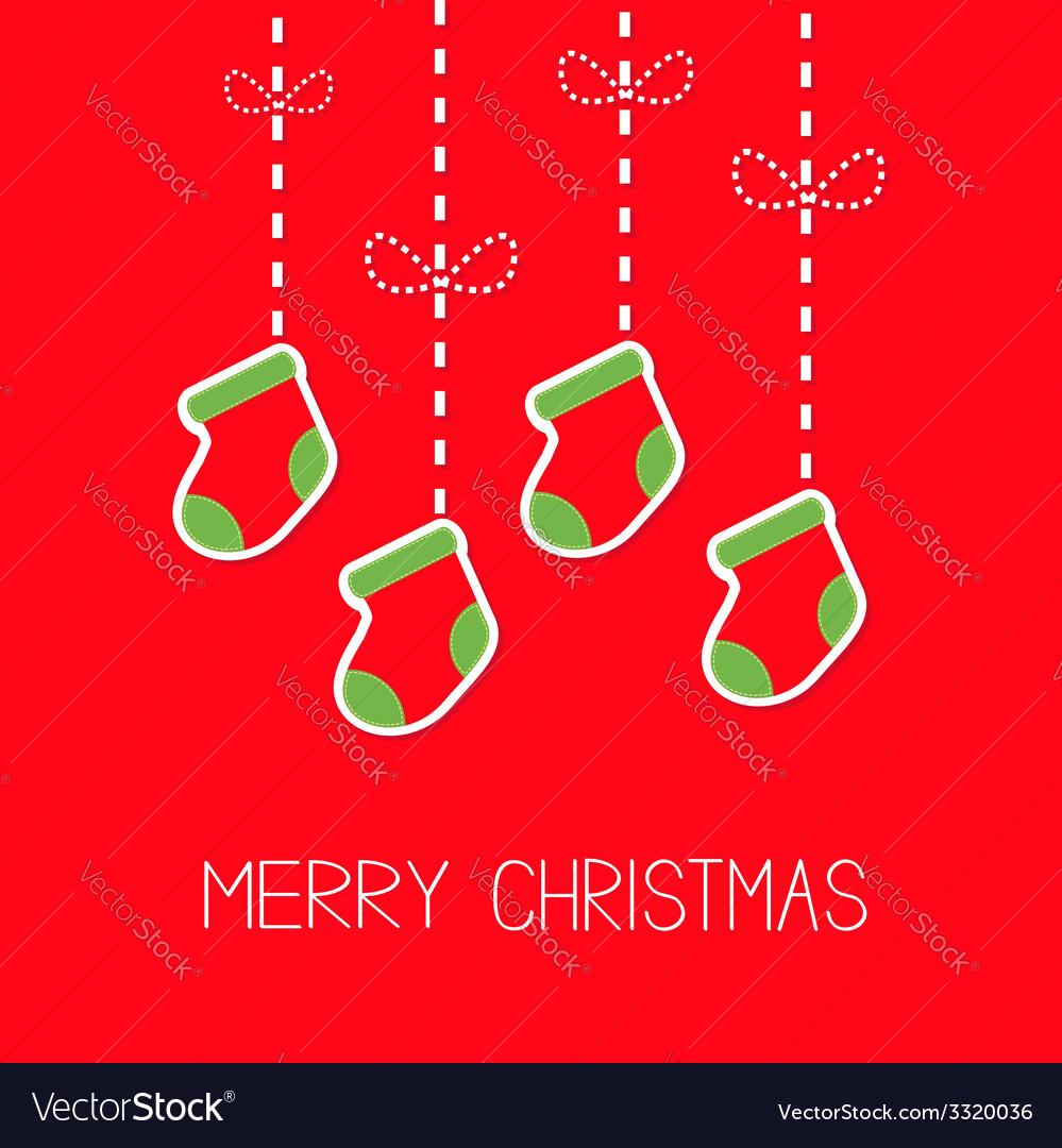 Hanging christmas socks dash line bow christmas vector | Price: 1 Credit (USD $1)