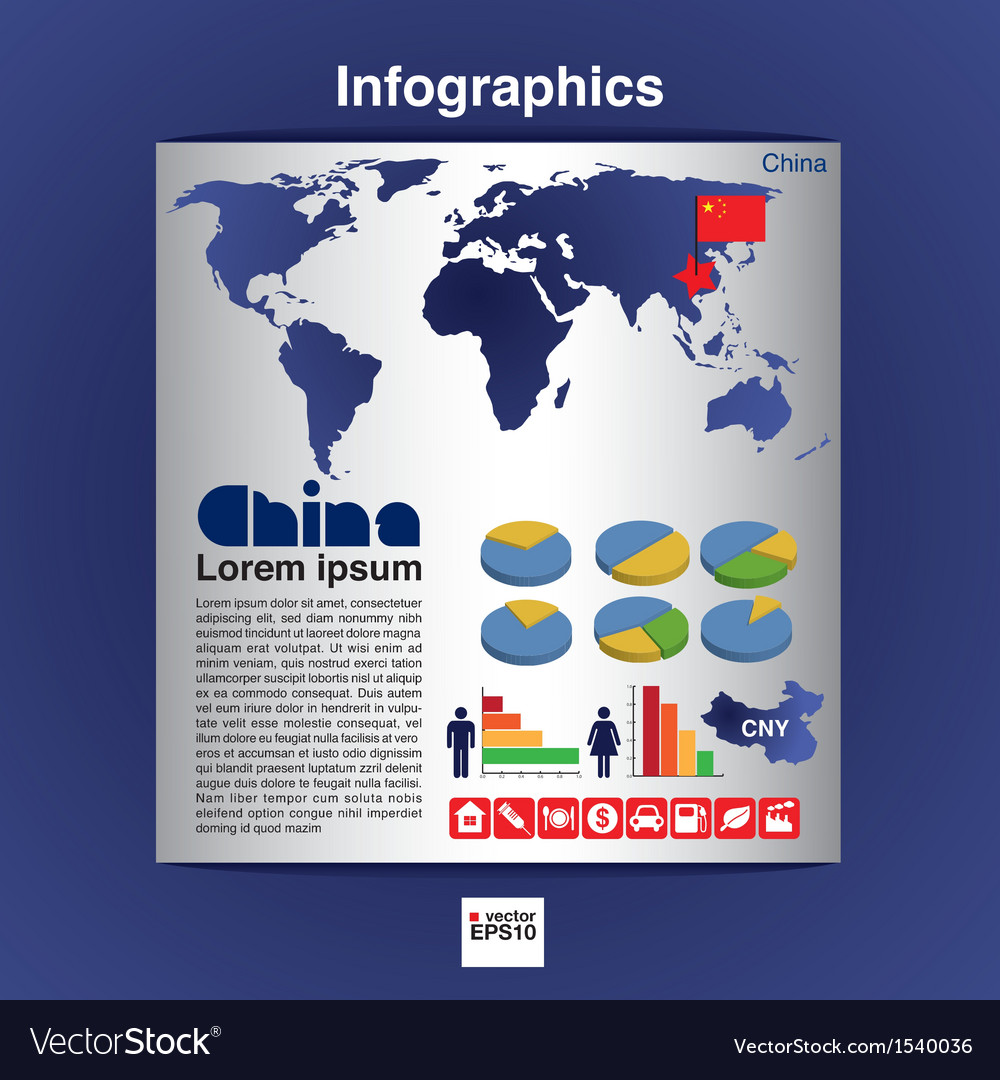 Infographic map of china eps10 vector | Price: 1 Credit (USD $1)