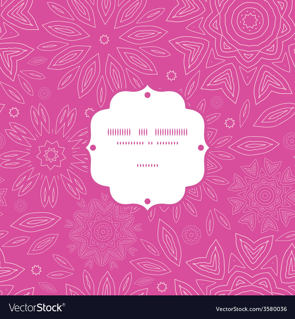 Pink abstract flowers texture frame seamless vector | Price: 1 Credit (USD $1)