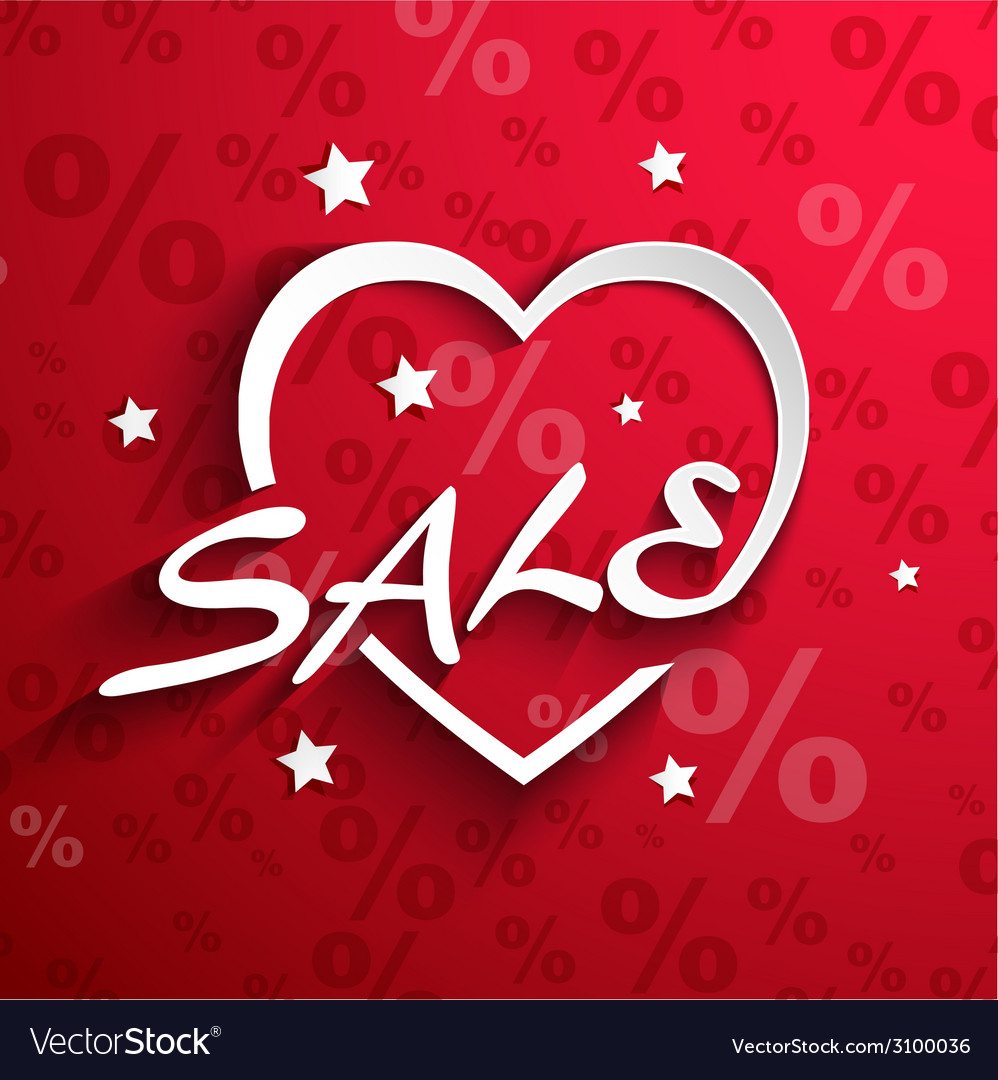Sale poster paper heart shape with word sale stars vector | Price: 1 Credit (USD $1)