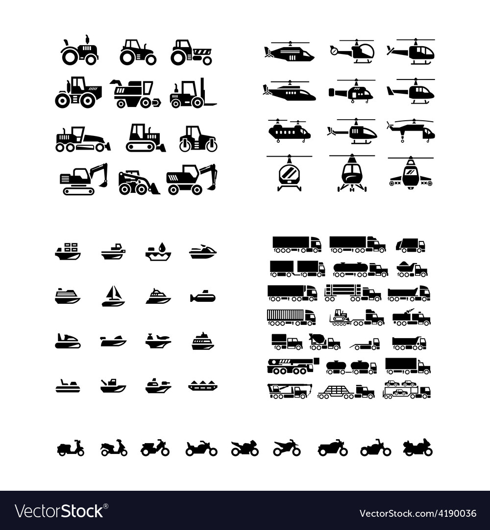 Set icons of transport vector | Price: 1 Credit (USD $1)