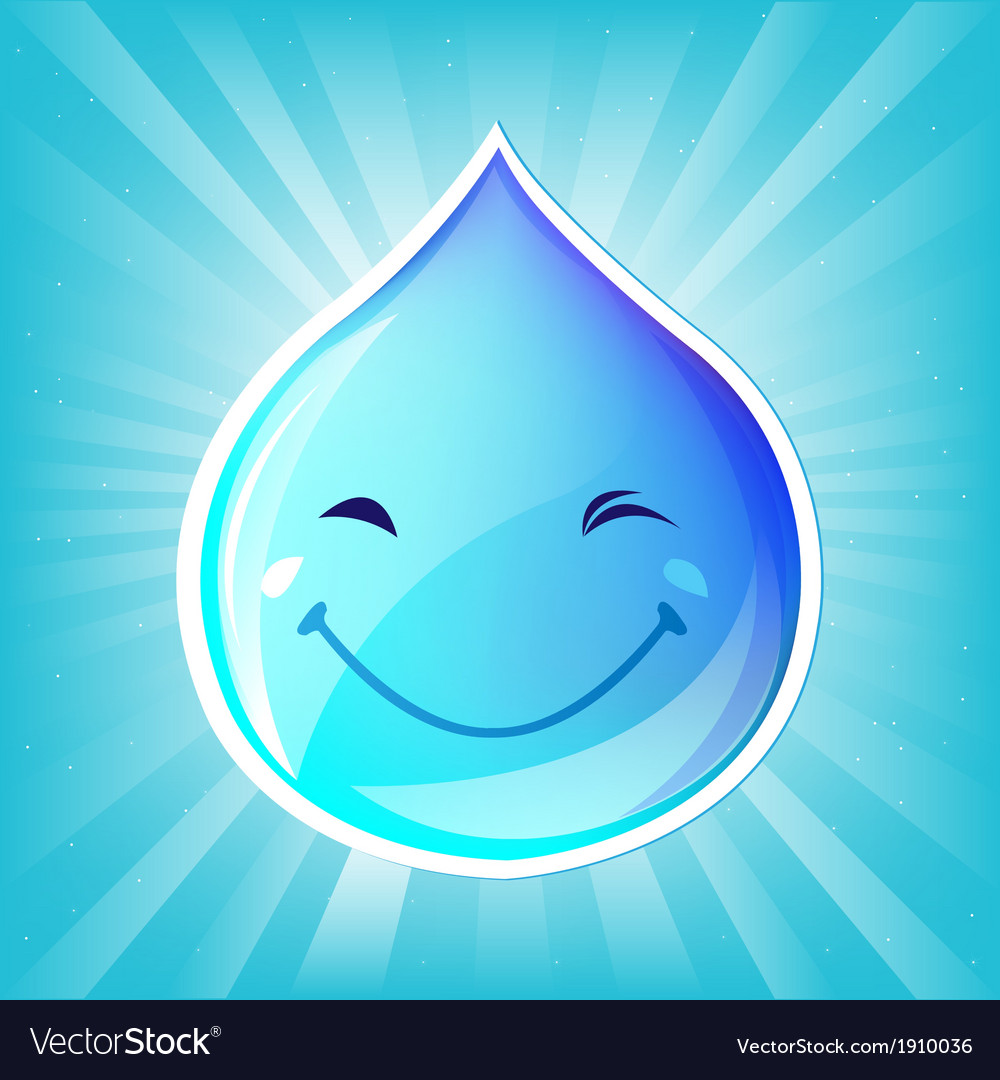 Smiling drop of water and sunburst vector | Price: 1 Credit (USD $1)