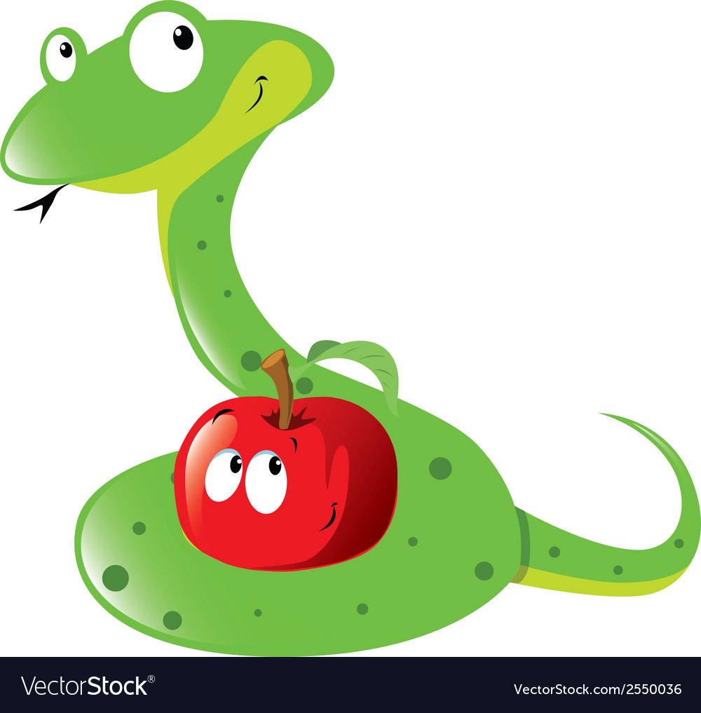 Snake and apple vector | Price: 1 Credit (USD $1)
