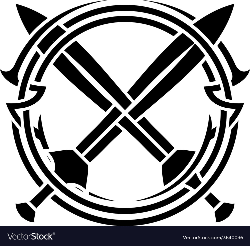 Stencil of pattern and crossed swords vector | Price: 1 Credit (USD $1)