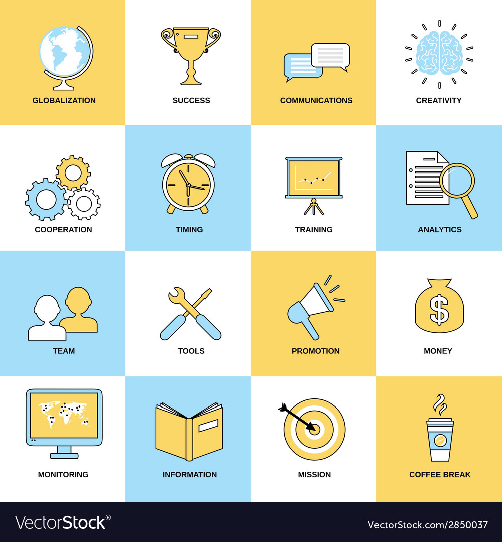 Business icons flat line set vector | Price: 1 Credit (USD $1)