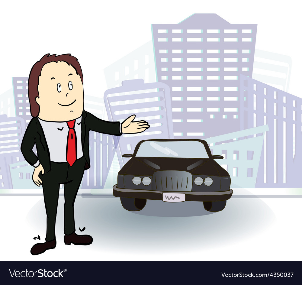 Businessman and car rich man in the city vector | Price: 1 Credit (USD $1)
