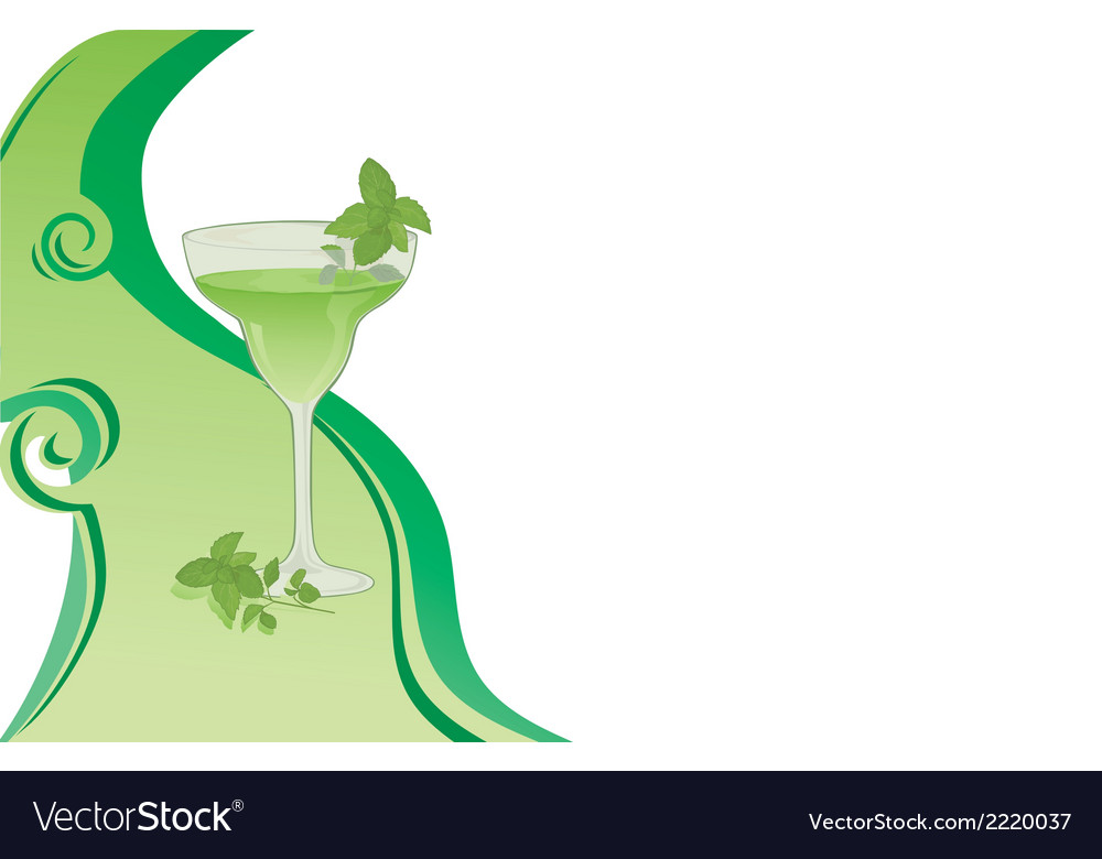 Cocktail green card with mint vector | Price: 1 Credit (USD $1)