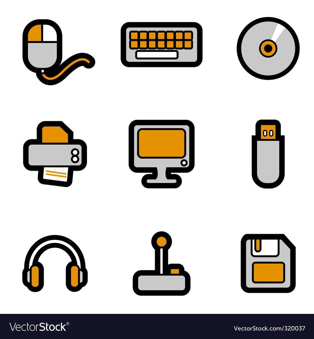 Computer objects icon vector | Price: 1 Credit (USD $1)