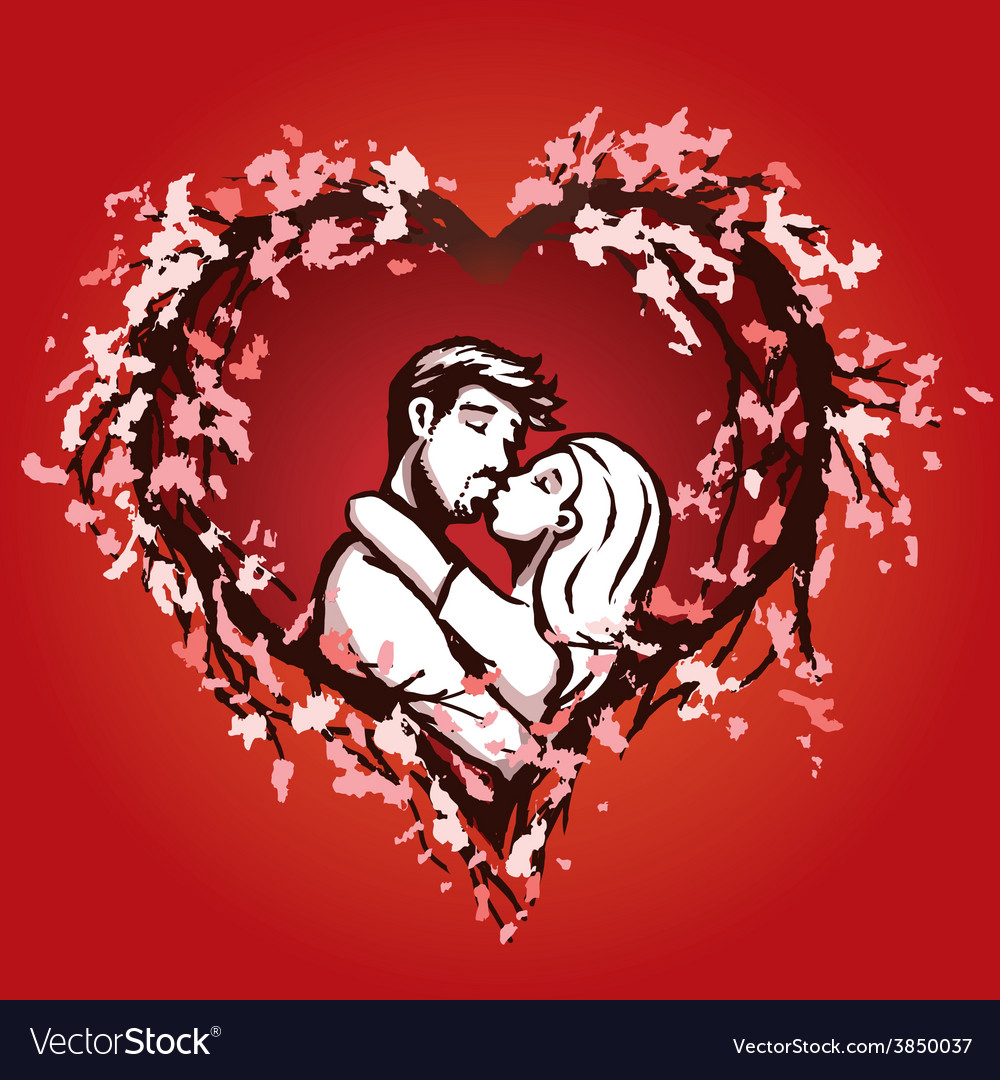 Cute couple kisses in a blossom heart vector | Price: 1 Credit (USD $1)