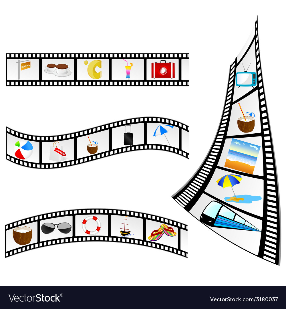 Film tape with beach items vector | Price: 1 Credit (USD $1)