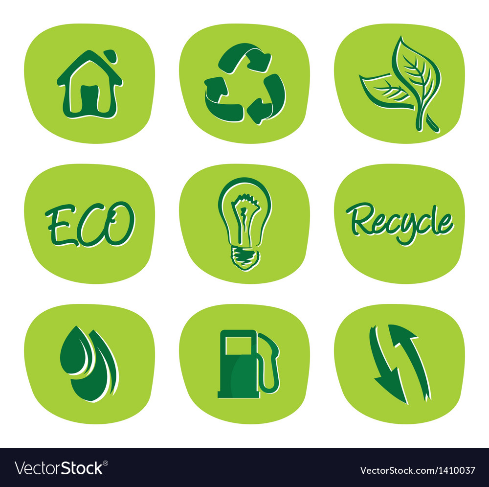 Green environment and recycle icons vector | Price: 1 Credit (USD $1)