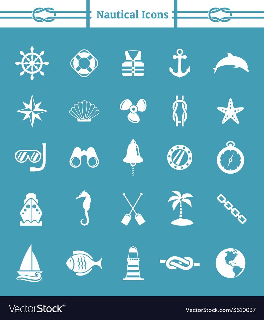 Nautical icon set vector | Price: 1 Credit (USD $1)