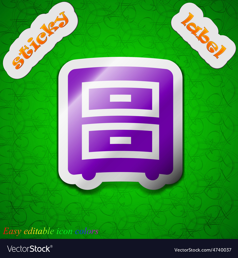 Nightstand icon sign symbol chic colored sticky vector   Price: 1 Credit (USD $1)
