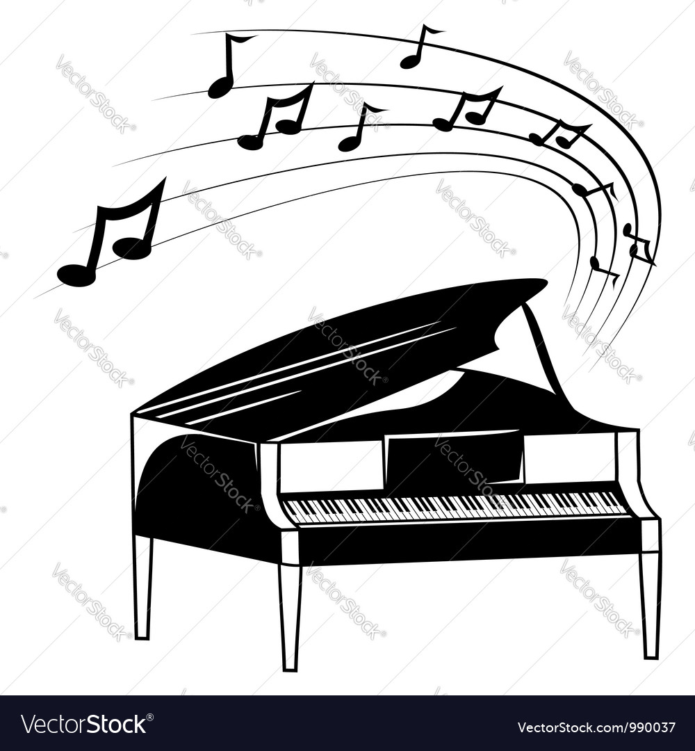 Piano and music notes vector | Price: 1 Credit (USD $1)