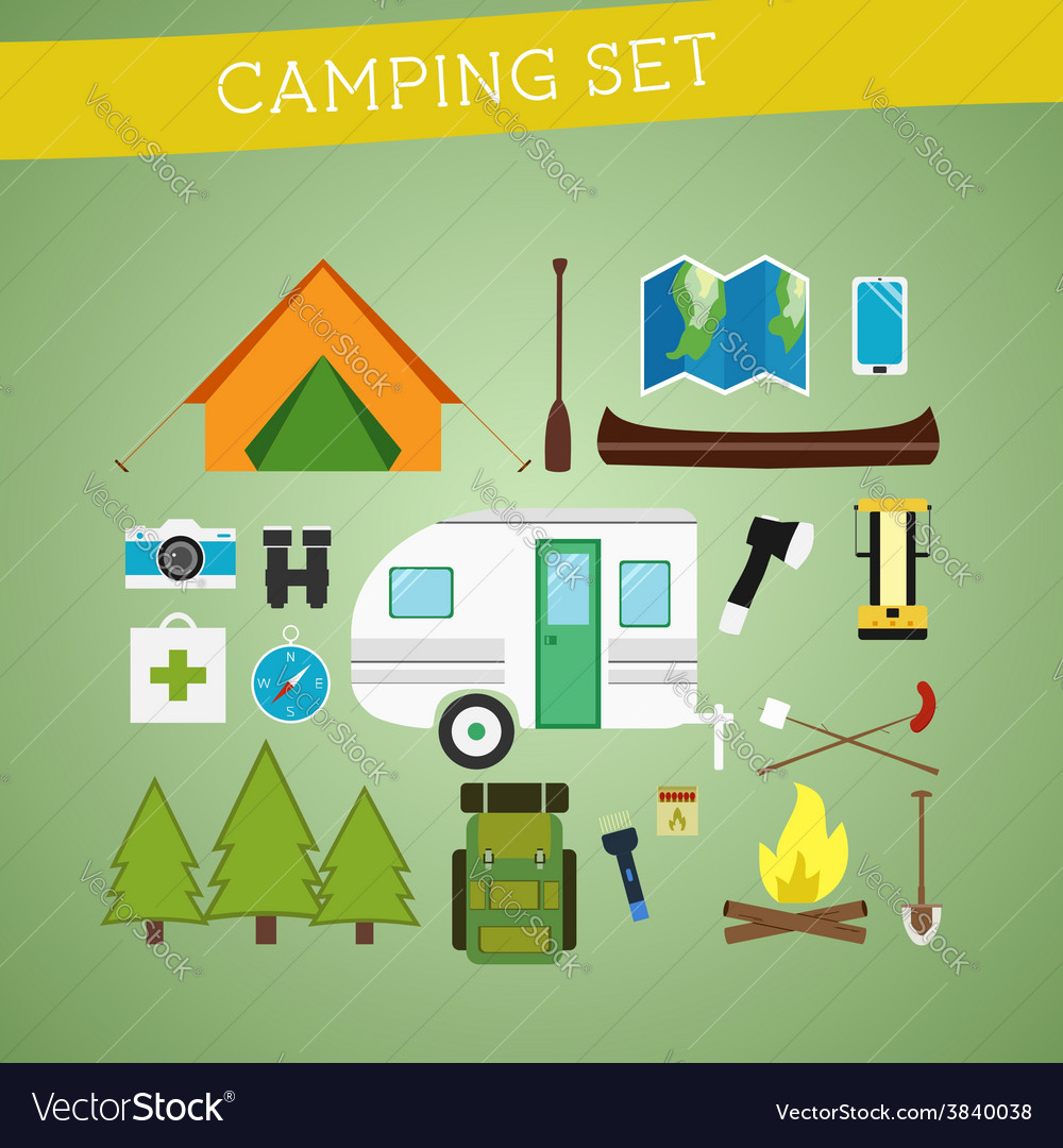 Bright cartoon camping equipment icon set in vector | Price: 1 Credit (USD $1)