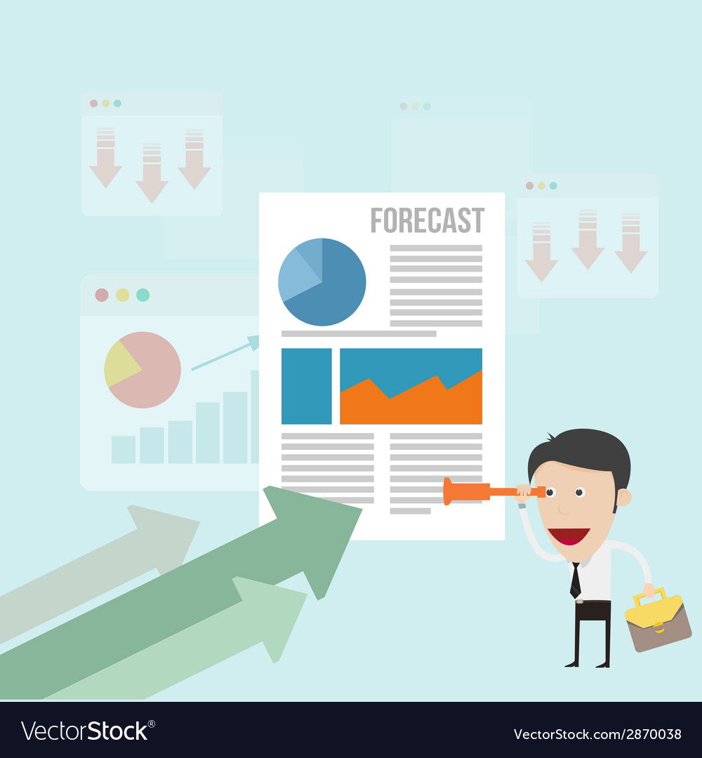 Business man forecasting business trend vector | Price: 1 Credit (USD $1)
