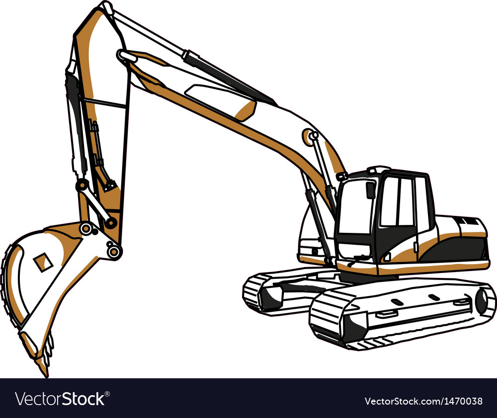 Caterpillar cat excavator vector | Price: 1 Credit (USD $1)