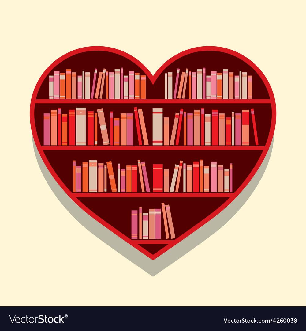 Heart shape bookshelf on wall vector | Price: 1 Credit (USD $1)