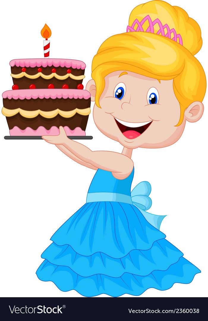 Little girl cartoon with birthday cake vector | Price: 1 Credit (USD $1)