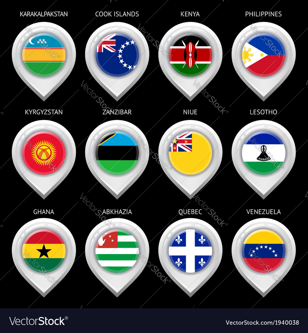 Map marker with flag-set sixteen vector | Price: 1 Credit (USD $1)