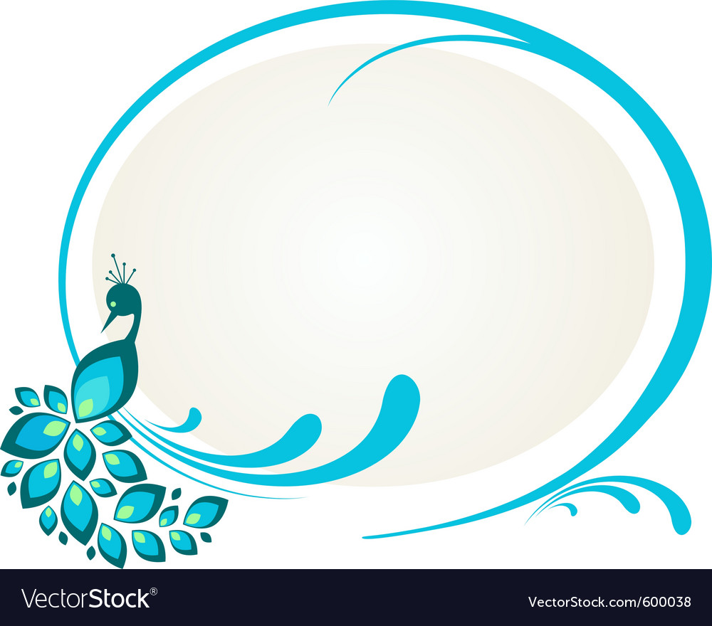 Peacock floral frame vector | Price: 1 Credit (USD $1)