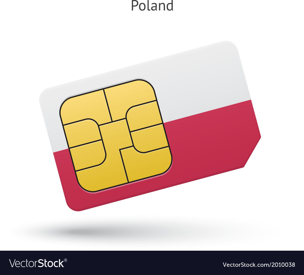 Poland mobile phone sim card with flag vector | Price: 1 Credit (USD $1)
