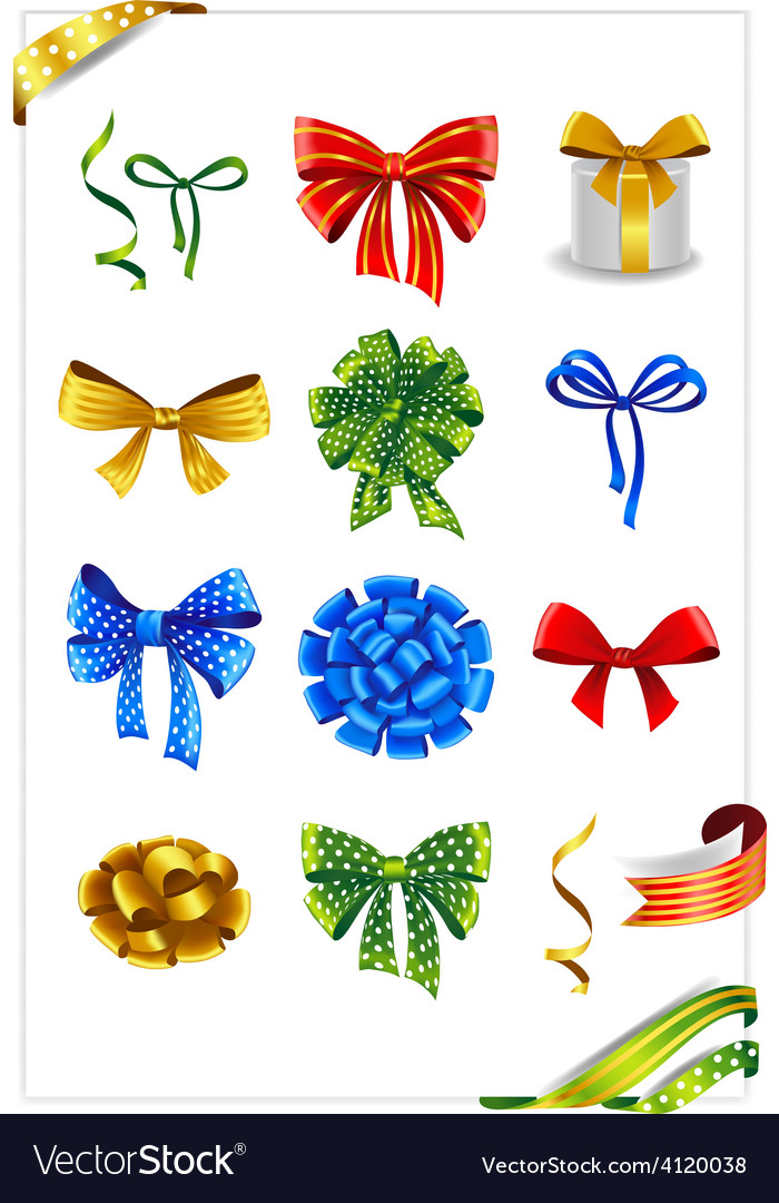 Set of gift bows with ribbons vector | Price: 3 Credit (USD $3)
