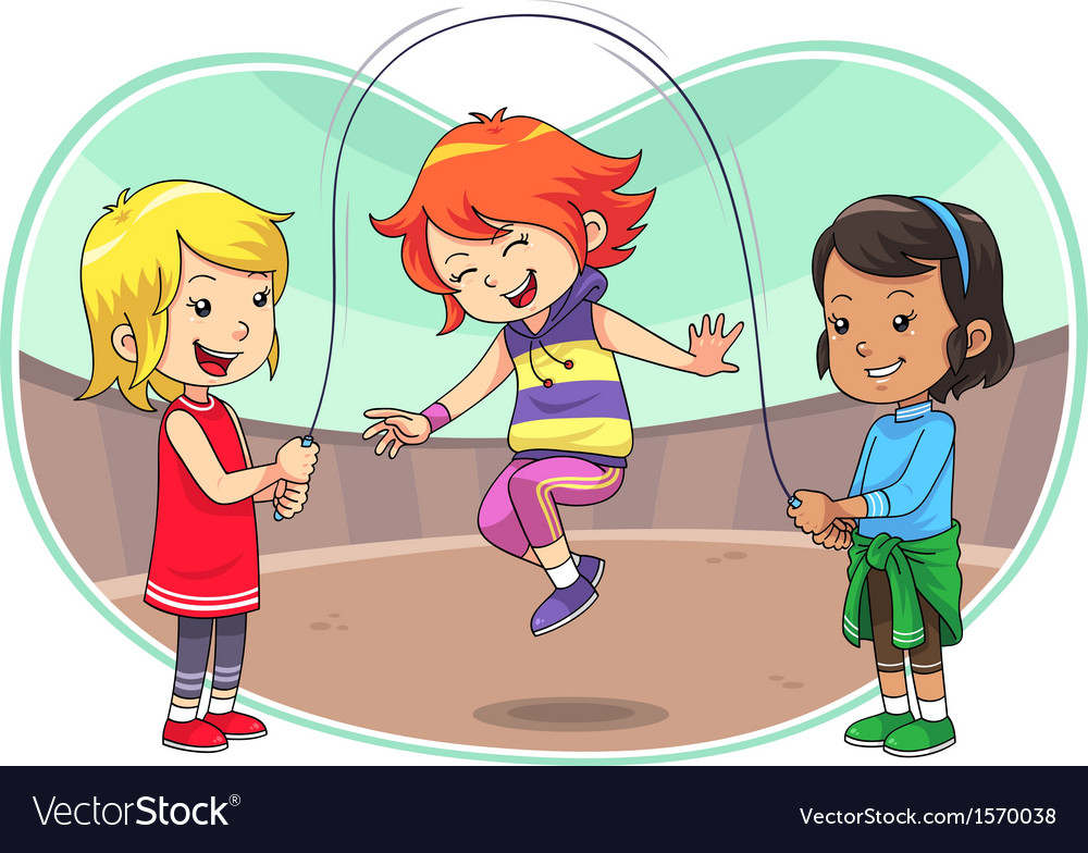 Skipping jump play vector | Price: 1 Credit (USD $1)