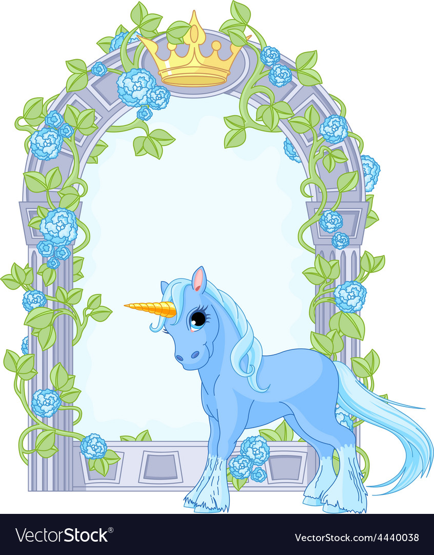Unicorn close to flower frame vector | Price: 3 Credit (USD $3)