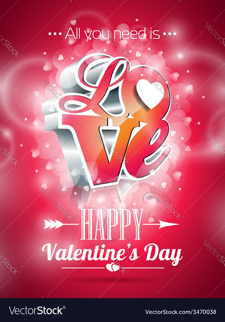 Valentines day with 3d love vector | Price: 3 Credit (USD $3)