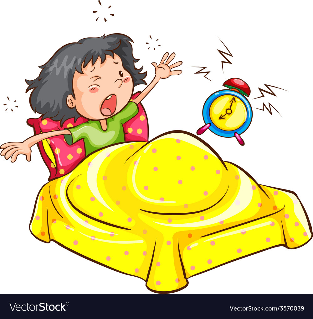 A girl waking up with an alarm vector | Price: 1 Credit (USD $1)