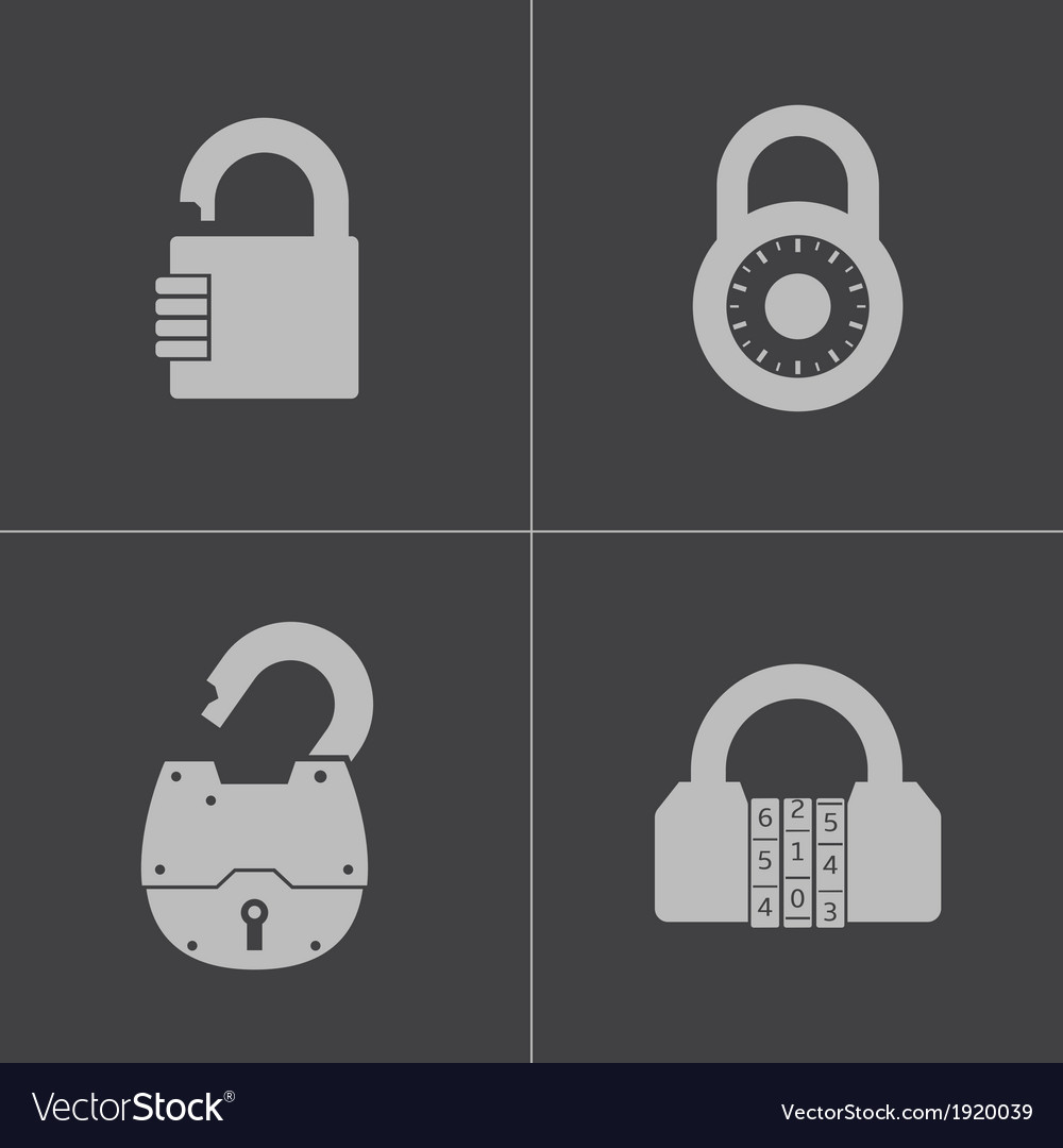 Black lock icons set vector | Price: 1 Credit (USD $1)