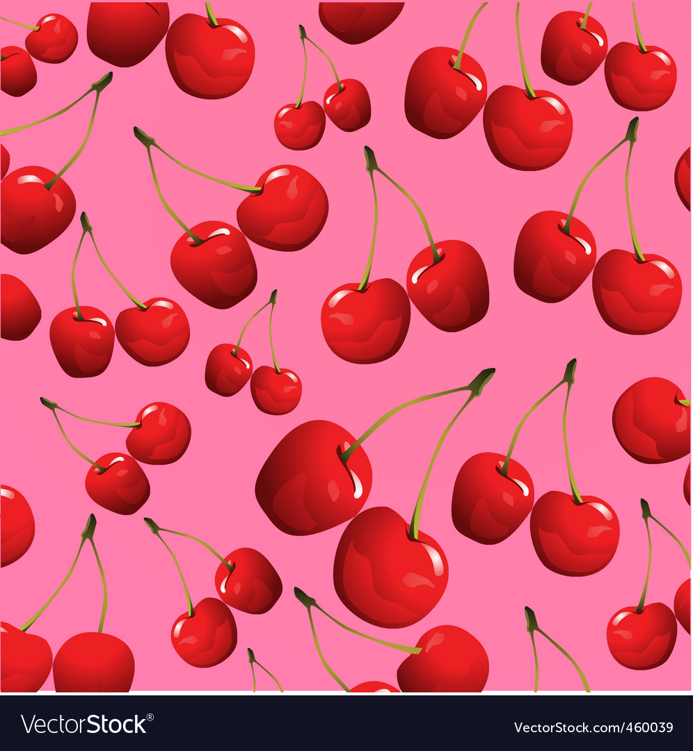 Cherries on pink background vector | Price: 1 Credit (USD $1)