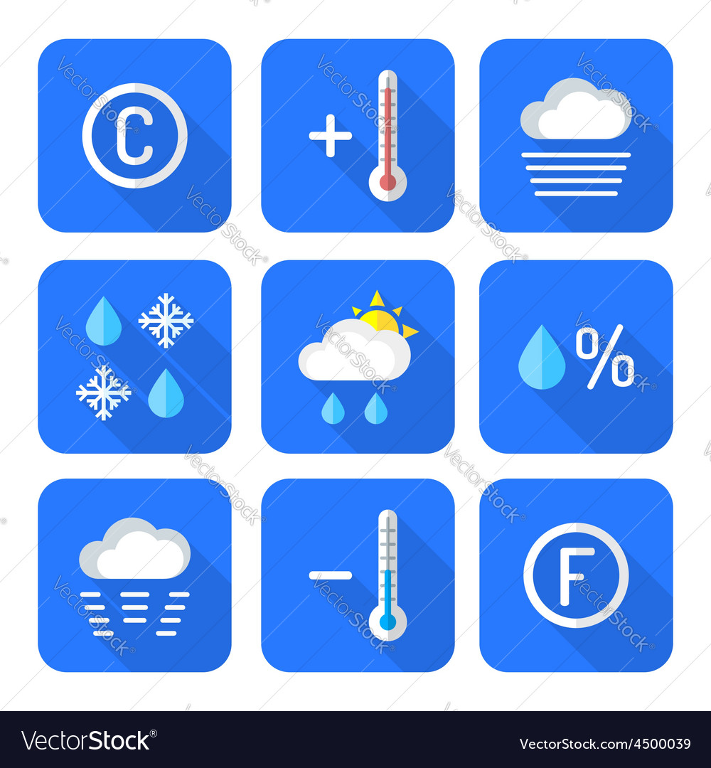 Colored flat style weather forecast icons set vector   Price: 1 Credit (USD $1)